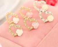 Free Shipping Hot Sale New Arrival 2014 Heart Stud Earring  Rose Earrings For Women / OL Lady