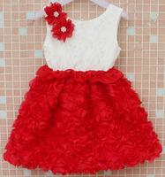 2014 new summer girls chiffon lace flower dress kids birthday party Christmas festival dresses whole sale