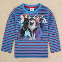 Free Shipping 2014 New Autumn NOVA Cartoon Clothing Boys Frozen T-shirt King Kids 100% Cotton t-shirts Baby frozen Print tshirt