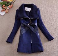 Winter Woollen Coat Women Outerwear Patchwork Thick Long Wool Coat Parka Overcoat Casacos Femininos 2014