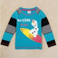 Free Shipping 2014 New Autumn Boys Frozen T-shirt Kids 100% Cotton t-shirts Baby Olaf Printed tshirt NOVA Cartoon Clothing