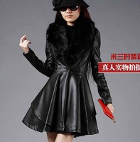 2014 New Design Long Leather Trench Coat With Luxury Fox Fur Collar Female Slim Washed Leather Jackets Plus Size S-4Xl H847