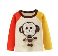 The new autumn 2014 Little monkey boy hitting scene long sleeve T-shirt Baby round collar coat