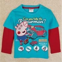 Free Shipping 2014 New Autumn Boys Peppa pig T-shirt Tees Kids 100% Cotton t-shirts Baby Printed tshirt NOVA Cartoon Clothing