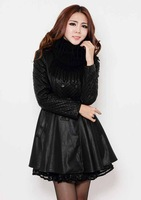 spring women's leather long jacket lady's slim outerwear women's pu leather trench coat female coat