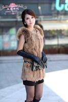 Free shipping 2014 winter new Korean long paragraph Slim Leather grass fur raccoon fur vest Miss Mao Ling Vest