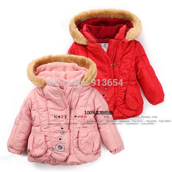 Девочки зима пальто одежда для младенцев дети верхняя одежда закрытый воротник девочки-младенцы куртки