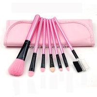 Free shipping pink color 7 pcs makeup brush set professional cosmetic brush beauty makeup tool