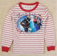 Free Shipping 2014 New Arrival Girls Frozen T-shirt Kids 100% Cotton t-shirts Baby frozen Printed tshirt NOVA Cartoon Clothing