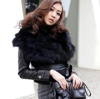 Women Short Jacket with Big Faux  Fur Collar--- Women Leather Jacket-- Faux Fur Jacket