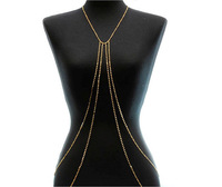 2014 Hot Sexy CZ Stones Body Chain Four Chains Body Jewelry Vintage Gold Plated Chain Chunky Statement Belly Chain