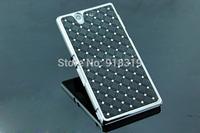 L36H C6603 Case MOQ:1PCS Stock Bling Silver Case Rhinestone Diamond Case For Sony-Ericsson Xperia Z L36H C6603 C6602 Case