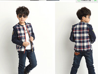 Children's wear the new 2014 han edition retro leather children's leisure long-sleeved grid jacket