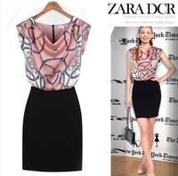Plus size women summer dress 2014 Batwing Sleeve fashion print slim hip bodycom dress autumn casual dress OL office work dress