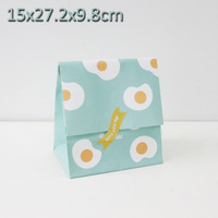 "Kraft paper  Flat Bottom Bags, Gift Bags, Party, Lolly,Favour, Wedding, Packaging ""Blue and fried egg printing"" 15x27.2cm"
