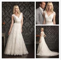 Beautiful A-Line Cap Sleeve Wedding Dress New Fashion White/Ivory V-Neck Lace Wedding Gown  al44
