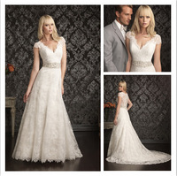 Beautiful A-Line Cap Sleeve Wedding Dress New Fashion White/Ivory V-Neck Lace Wedding Gown  al44