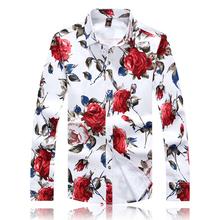 2015 new autumn high quality plus size 3XL 4XL 5XL rose shape floral print shirts men fashion shirts(China (Mainland))