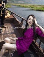 New Spring/Summer 2014 Eu Style Women Summer Dress A-line half Sleeve Novelty purple Lace Dress O-neck Plus Size Free Shipping