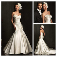 Exquisite Mermaid Flowers Wedding Dress New Fashion White/Ivory Sweetheart Satin With Train Wedding Gown  al49