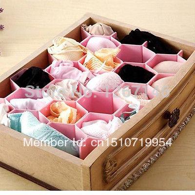 Grátis frete Honeycomb gaveta do armário gabinete Sock Tie ripa divisor armazenamento organizador caixa(China (Mainland))