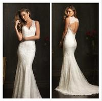 Exquisite Mermaid Beaded Wedding Dress Beautiful White/Ivory V-Neck Lace Wedding Gown  al58