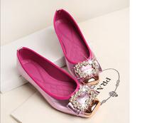 FREE SHIPPING new European and American luxury diamond TB metal buckle Fashion women flats shoes girl metal shoes eu35-40