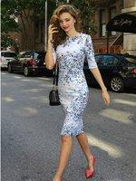 Free shipping 2014 Women's Fashion Miranda Kerr Same Style Sky Blue Half Sleeve OL Dress Celebrity Evening Party Prom Dresses