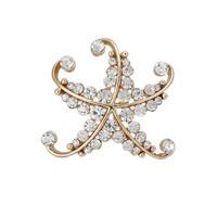 Fashion Women Hot Sale Gold Starfish Rhinestone Brooch