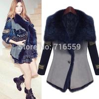 2014 New fur coat fur one piece fur autumn and winter women medium-long overcoat  fur coats Free Shipping