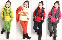 Children's clothing female child autumn set 2014 autumn child long-sleeve casual sweatshirt piece set