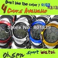 5PCS a lot  OHSEN brand Sport Watch Boys Child digital Display Waterproof Rubber Band 7 colours Fashion Watches Gift A324-A327