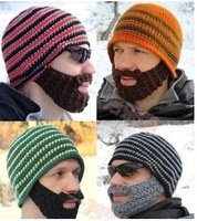 2014  Fashion  Wind Protective Ear Big Beard Knitted Cap Funny Winter Keep Warm Hat For Adult 4 Colors