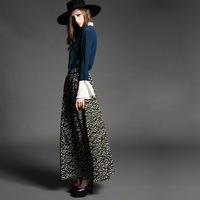 Autumn new arrival 2014 women's vintage print long bust skirt