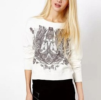 New Fashion Ladies' Elegant totem print Pullover knitwear Casual slim knitted sweater o neck long sleeve  tops--H846