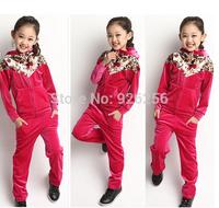 Children's clothing female child 2014 autumn child baby clothes big boy sweatshirt sports set spring and autumn