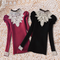 2014 new winny autumn and winter women's lace sweater female pullover stand collar puff sleeve slim basic shirt female