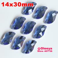 72pcs 14*30 mm S shape Sew-on Stone Dk. Blue Beauty Fish Sew On Rhinestones for bride dress making