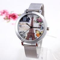 Women Watches Hot Sale Hardlex 10mm To 19mm 2014 New Arrival Ladies Watch Eiffel Tower Quartz Stainless Steel Women Wristwatch