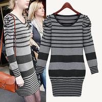 Stripes wear Tricot Inverno Sweter Dress Tunics Clothing 2014 Winter Women's Sweater Dresses Slim Warm Bodycon Sexy O neck