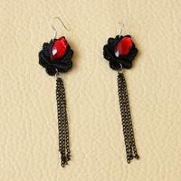 Min.order $15 Vampire Gothic Punk Dangle Fringe Earring Vintage Black Red Flower Drop Earring Fashion Handmade Earrings EH-60
