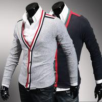 2014 winter new Korean men Slim classic spell color edging personality big V-neck cardigan