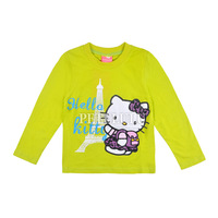 New 2014 kids cartoon kitty T-shirt Children long sleeve T shirt Girls Clothes baby Tees Cotton children t-shirts free shipping