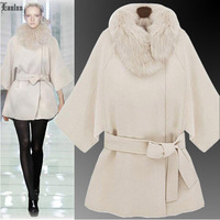 Lanluu High Quality Winter Coat Plus Size Detachable Fur Collar  Hooded Long Women Woolen Coats SQ858