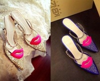 New 2014 summer fashion Small mouth choking pepper Red lips Sandals Gauze Pearl Slippers fine women's RV.  Lace shoes