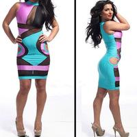 Hot sexy color stitching gauze bandage dress bodycon dress Sexy dress free shipping
