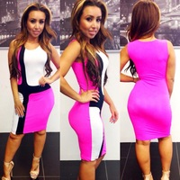 New arrived sexy bandage dress color mosaic nightclub sleeved bodycon dress women dress drop shipping
