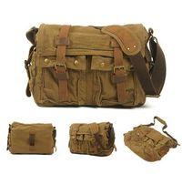 Vintage Canvas Messenger Shoulder Laptop Briefcase Bag School Satchel CB0001