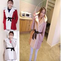 Korean Style  Fashion Women winter Hooded Coats women Fleece Long Coat Women Warm coat Jacket with belt plus size Free Shipping