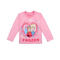 New 2014 Baby Girls Frozen long sleeve T Shirt Kids cotton Spring Autumn Cartoon clothing children t-shirts tees Top